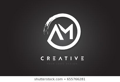 Am Circular Letter Logo With Circle Brush Design And Black