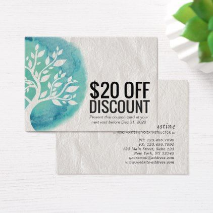 Yoga Discount Coupon Loyalty Watercolor Teal Tree Zazzle Com