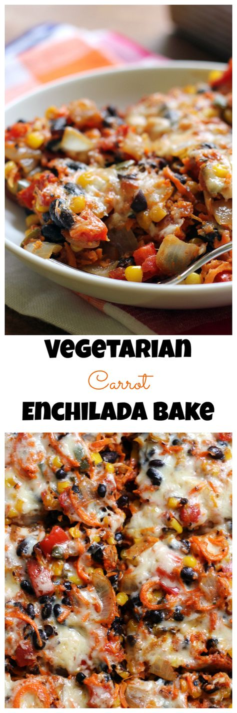 This spicy vegetarian enchilada bake replaces tortillas with carrot rice, making for a low carb, but delicious meal filled with beans, corn, veggies, and spices to fill you up without weighing you down.