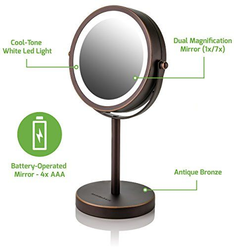 Ovente Lighted Tabletop Makeup Mirror 6 Inch Dual Sided 1x 7x