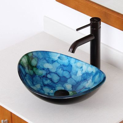 Elite Hand Painted Watercolor Boat Shaped Oval Bottom Bowl Vessel Bathroom Sink Drain Finish Oil Rubbed Bronze Glass Bathroom Sink Vessel Sink Bathroom