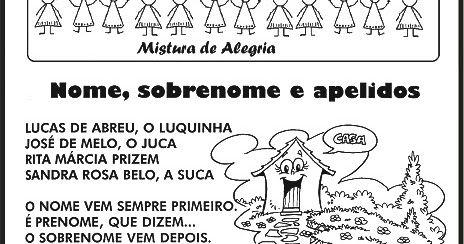 Atividades Com Nomes Poesias Alfabetizacao Imprimir E Colorir