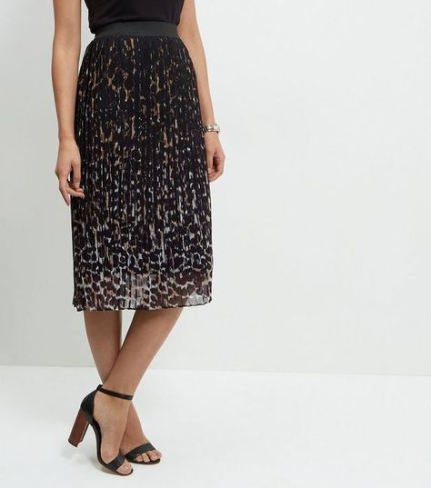 distinctive design genuine colours and striking Black Animal Print Pleated Midi Skirt | New Look | midi ...