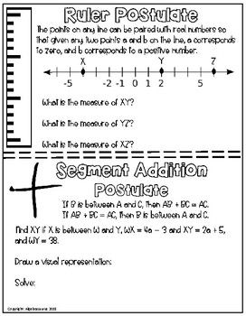 Ruler Segment Addition Protractor Angle Addition Postulate Packet