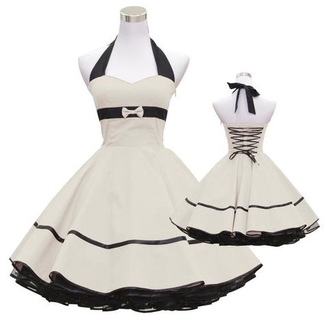 Items similar to vintage dress full skirt ecru creme black sweetheart bow design lace back custom made Retro on Etsy Full Skirt Outfit, Skirt Outfits, Cute Outfits, Dance Dresses, Cute Dresses, Bow Design, Lace Design, Vintage Dresses 50s, Kawaii Clothes