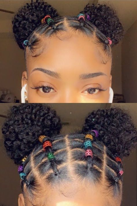 How do I get the elastics out of my hair? Use a small pair of scissors to cut out the rubber bands and be very careful to take them off. You don't want to rush this process, otherwise, you might end up with breakage. How do I style short 4c hair in a rubber band Little Girls Natural Hairstyles, Kids Curly Hairstyles, Black Girl Braided Hairstyles, Baby Girl Hairstyles, Natural Hair Styles Kids, Kids Hair Styles, Mixed Kids Hairstyles, Hairdos For Short Hair, Baddie Hairstyles