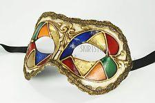 Genuine Venetian Mask Made in Italy Herlequin Masquerade Costume Gold Bright New
