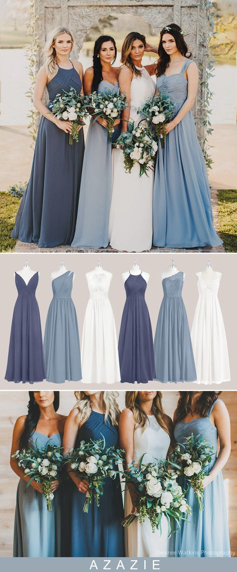 Dusty blue, a calming middle ground combination of powder blue and gray, is a versatile wedding color. When you opt for dusty blue bridesmaid dresses for your ceremony, you'll be opening yourself up to a whole new world of possibilities and outstanding wedding palettes. The dusty blue and stormy are perfect for the spring and summer seasons. #azazie #bluebridesmaiddresses #wedding #weddingcolors #bridesmaids #bridesmaiddresses