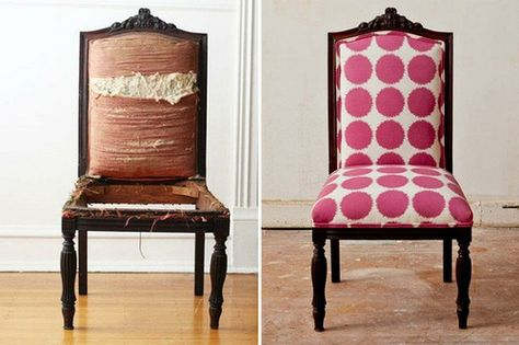 Great before and after chair re-upholstery.