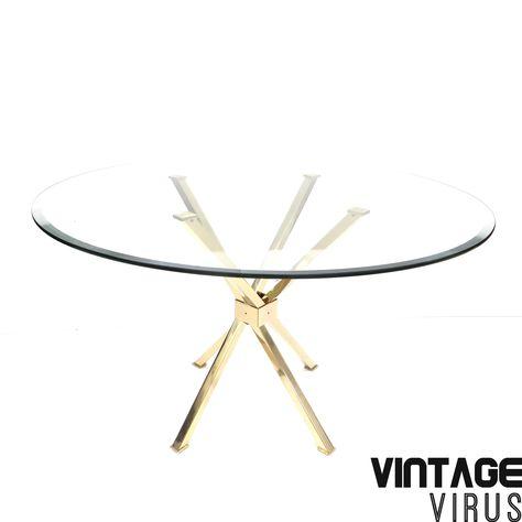 Glazen Tafelblad Rond.Ronde Vintage Glazen Eettafel Tafel Met Messing Onderstel