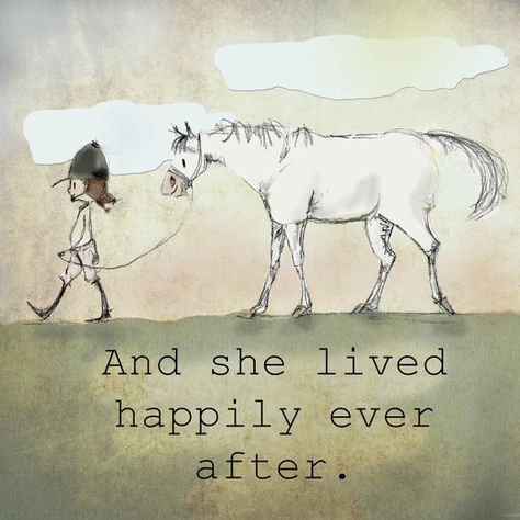 And she lived happily ever after. Hunter jumper horse art. Watercolor paper. White border.