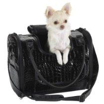 Zack & Zoey Crocodile Texture Pet Carrier, Small, Black
