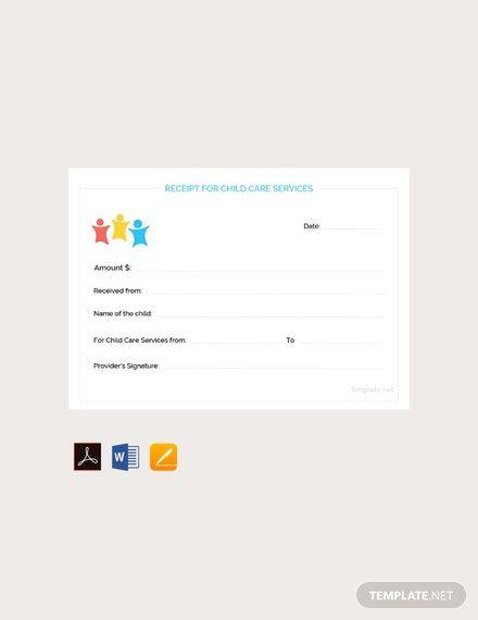Child Care Services Receipt Template Free Pdf Word Apple Pages Child Care Services Free Child Care Childcare