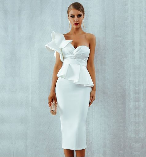White Bridal Party Midi Vintage Ruffle Prom Homecoming Dress