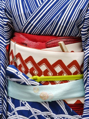 Detail of a summer kimono sash (obi), Pontocho