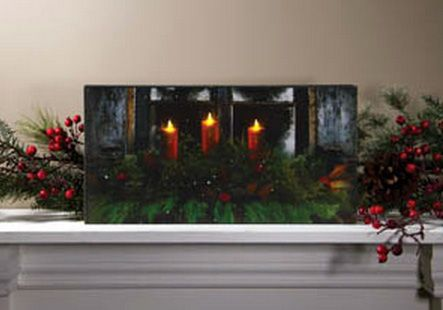 Pine Window Box Candles Christmas Lighted Canvas Wall Decor Sign New