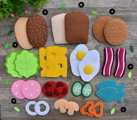 Food Crafts, Crafts For Kids, Crafts With Felt, Felt Food Patterns, Felt Patterns Free, Felt Play Food, Kids Play Food, Children Play, Felt Kids