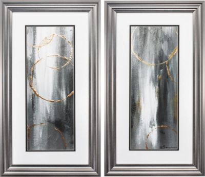 Gray Waterfall Set Of 2 Artwork Wall Art Canvas Prints Framed Wall Art Sets Painting Frames