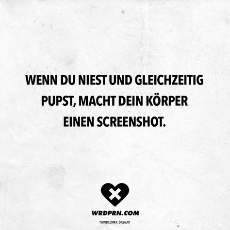 Visual Statements®️ Wenn du niest und gleichzeitig pupst, macht dein Körper einen Screenshot. Sprüche / Zitate / Quotes / Wordporn / witzig / lustig / Sarkasmus / Freundschaft / Beziehung / Ironie