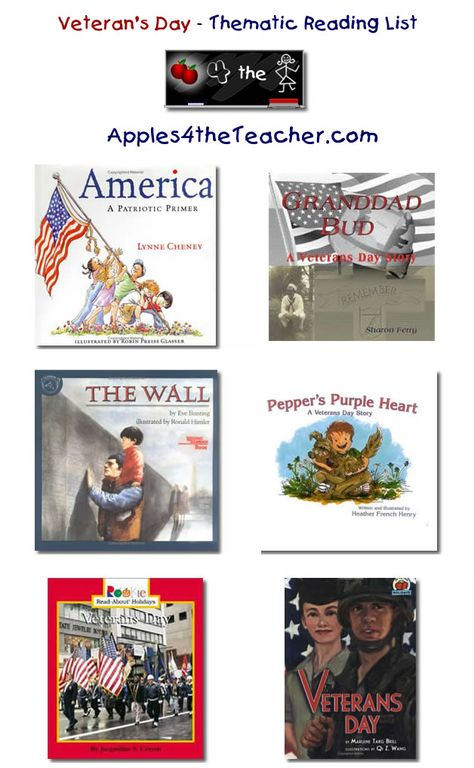 Suggested thematic reading list for Veterans Day - Veteran's Day books for kids.
