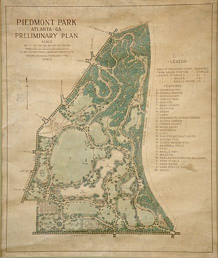 An Old Park Plan For Piedmont Park, Atlanta, Georgia | PLAN | Pinterest |  Piedmont Park Atlanta, Urban Planning And Landscape Architecture