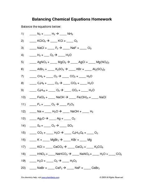 Balancing Chemical Equations Examples Worksheet