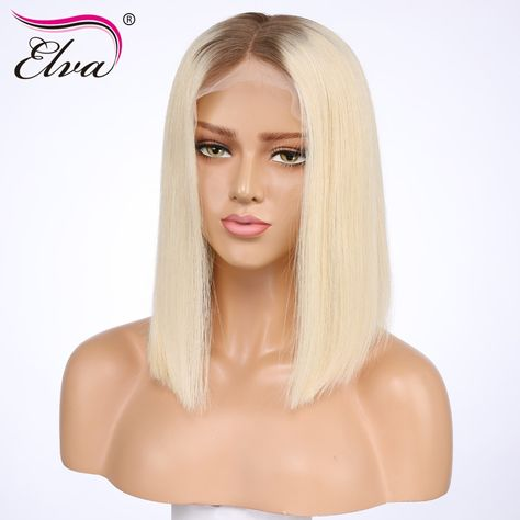 Short Human Hair Wigs For Black Women Brazilian Lace Front Wig With Pre  Plucked Baby Hair  4 613 Elva Remy Hair Bob Wig 8-14   Brazilian Women Front bd9ec1e805
