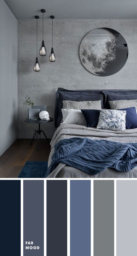Grey and Dark blue Bedroom Color Scheme , Grey bedroom color ideas. these bedroom room color schemes will take your space to your next level. color schemes for couples Grey and Dark blue Bedroom Color Scheme , Grey bedroom color ideas Grey Bedroom Colors, Dark Blue Bedrooms, Bedroom Colour Palette, Black Rooms, Bedroom Color Schemes, Bedroom Ideas Grey, Grey Palette, Modern Grey Bedroom, Grey Bedroom Design