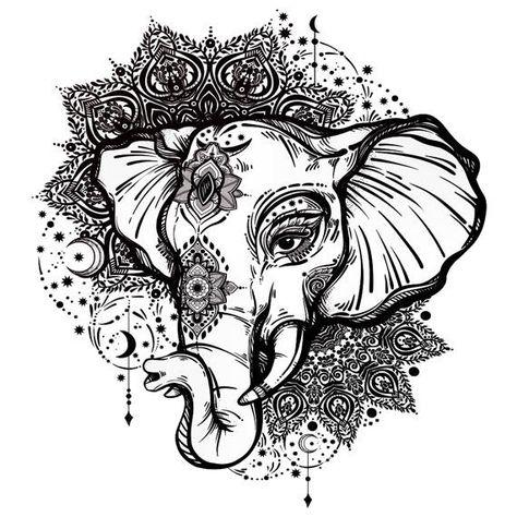 Sets Elephant & Mandala Temporary Tattoos | Etsy