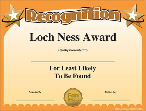 Free Printable Award Funny Awards Funny Certificates Funny