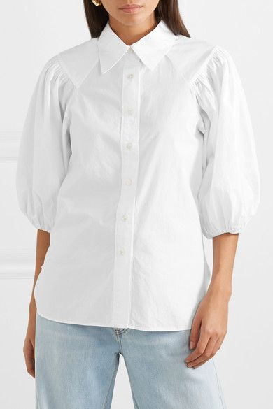 d4ea8b08513 GANNI - Cotton-poplin shirt in 2019 | clothes | Flat sandals outfit ...