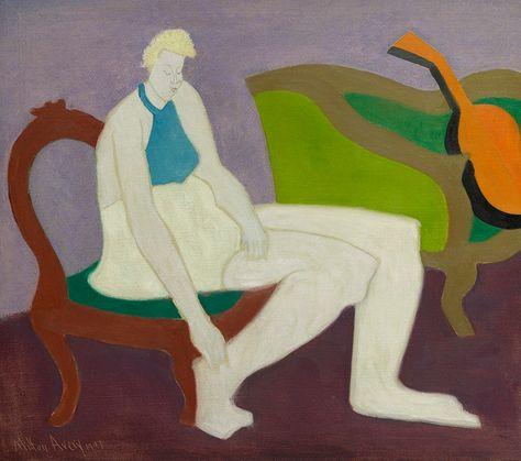 Milton Avery 1885 - 1965 WOMAN AND ORANGE MANDOLIN