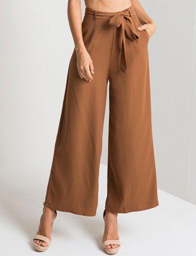 Moda Mediana Altura De La Cintura Del Pantalon Casual Wide Leg Pants Pants For Women Fashion