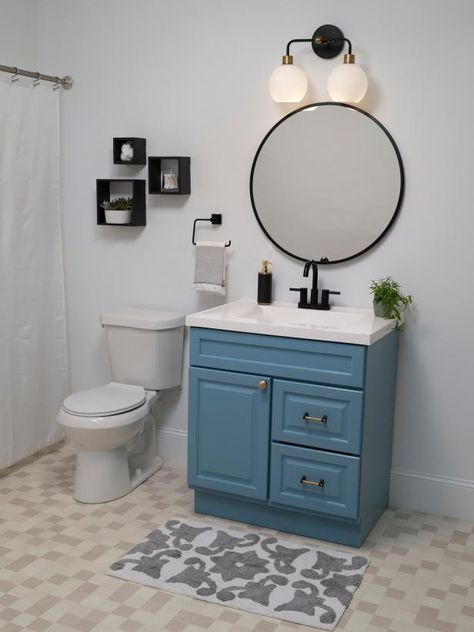 Tired of your cookie-cutter bathroom? Follow our simple guide for skipping the renovation and still giving your bathroom the va-va-voom treatment with just one can of paint, one day of work and a few fresh accessories! Sponsored by Behr