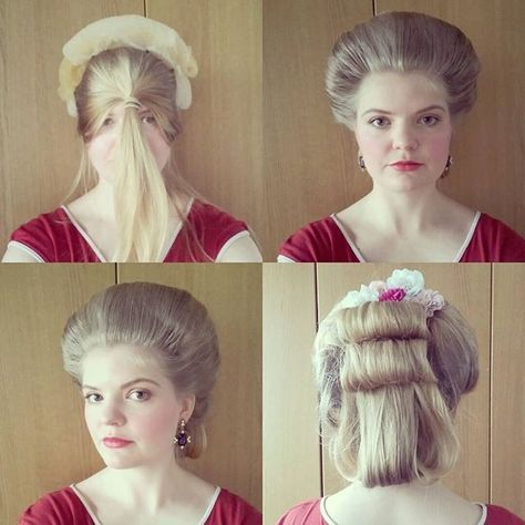 We Are Going Try And Shoot Something Today This Is Probably The Fastest 18th Century Hairdo I Ve Ever Done I Historical Hairstyles Hairdo Vintage Hairstyles
