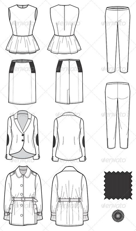 Buy Fashion Flat Sketches for Womens Leather Wear by on GraphicRiver. These handy illustrations are perfect for fashion designers/illustrators in need of technically correct production fl.