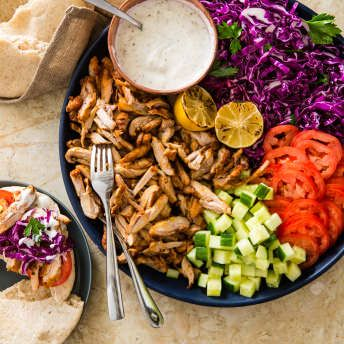Chicken Shawarma Could We Translate This Takeout Specialty Traditionally Cooked On A Spinning Live Fire Spit Into A Recip Chicken Shawarma Recipes Cookout Food