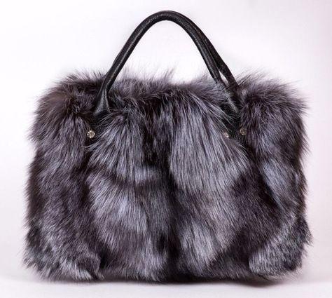 25ecb1347560 Woman Fashion Luxury Long Plush Silver Fox Fur Handbag Leather Tote Bag