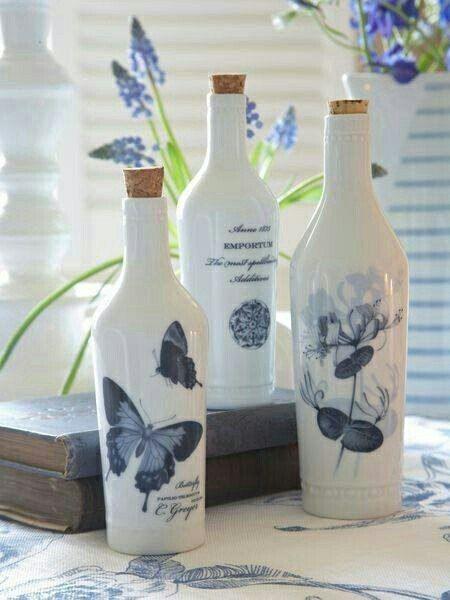 Decora Y Recicla Tus Botellas De Vidrio Con Servilletas De Decoupage Artesanía De Botella Decoración De Botellas Botellas De Vidrio