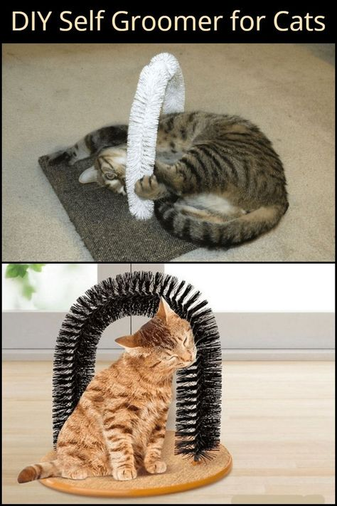 This is an easy and inexpensive DIY self groomer that your cat. This is an easy and inexpensive DIY self groomer that your cat. You are in the right place about fabric Cat Toys He Diy Jouet Pour Chat, Diy Cat Tree, Cat Trees Diy Easy, Cat Hacks, Cat Playground, Cat Room, Outdoor Cats, Cat Accessories, Cat Crafts