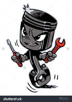 Piston Cartoon Gambar Animasi Sketsa Tato