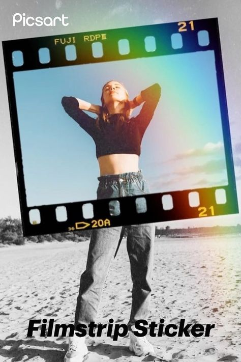 Use Picsart Stickers to create an edit like this! Search for Filmstrip and see what you can create.