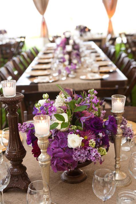 Purple centerpiece by Nico Cervantes/ NLC Productions nicosb.com | Linda Chaja Photography