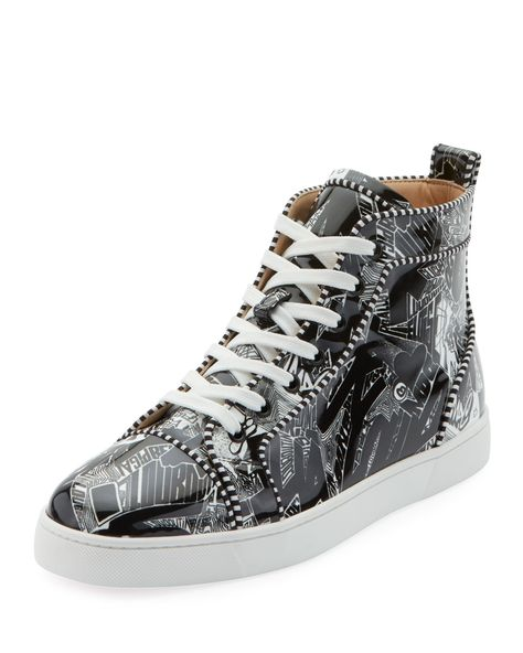 2684c0cb9669 CHRISTIAN LOUBOUTIN MEN S LOUIS ORLATO GRAFFITI HIGH-TOP SNEAKERS.   christianlouboutin  shoes