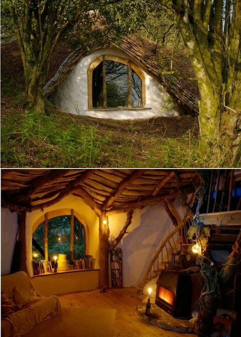 """A homeowner built their own version of a """"Hobbit House"""" inspired by Peter Jackson's """"Lord of the Rings"""" and """"The Hobbit"""" trilogies. Fairy Houses, Play Houses, Cob Houses, Casa Dos Hobbits, Outdoor Zelt, Eco Construction, Underground Homes, Earth Homes, Earthship"""