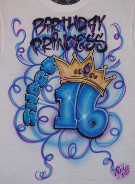 3edc518c Airbrush 16th Birthday Princess Sweet Sixteen Custom Airbrushed Crown  Rainbow Neon Glow In The Dark