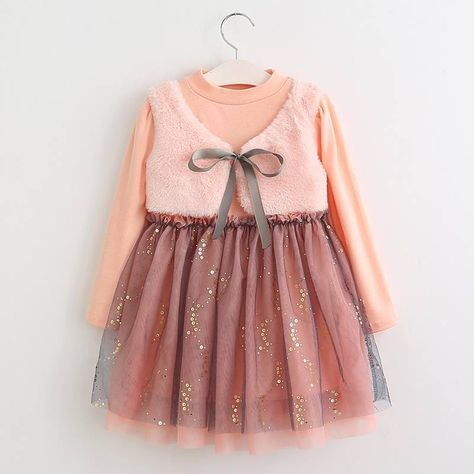 Toddler Kids Baby Girl Bow Long Sleeve Party Princess Dress Outfits Clothes UK