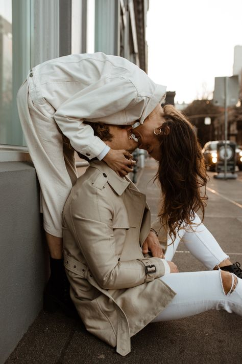 Alixann Loosle Photography, portland engagement photos, downtown engagement photos, city engagement inspo, engagement outfit ideas, couples session ideas, couples outfit inspo, couples pose ideas, engagement pose ideas, white jean jacket, free people, black rancher hat, sunset photos