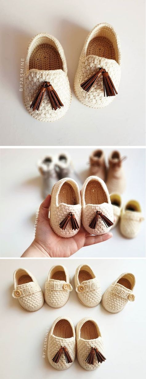 Crochet Baby Moccasins - Design Peak - Crochet - Gorros y Escarpines Crochet Baby Sandals, Crochet Baby Clothes, Crochet Shoes, Crochet Slippers, Baby Shoes Crochet Pattern, Crochet Baby Stuff, Knit Baby Shoes, Booties Crochet, Crochet For Kids