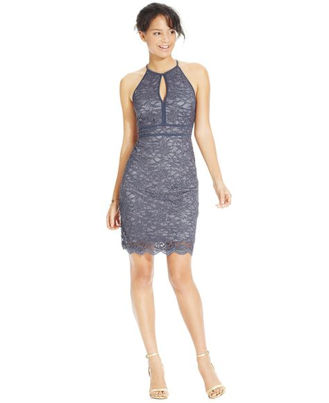 Morgan Company Juniors Glitter Lace Bodycon Dress